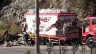 Yüklü kamyonun freni arızalandı